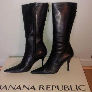 Banana Republic Piper Black Lace-up Mid Calf Boots